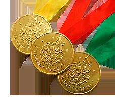 """Шоколадная медаль на ленте """"С Новым годом!"""""""