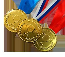 """Шоколадные медали на ленте """"Чемпион"""""""