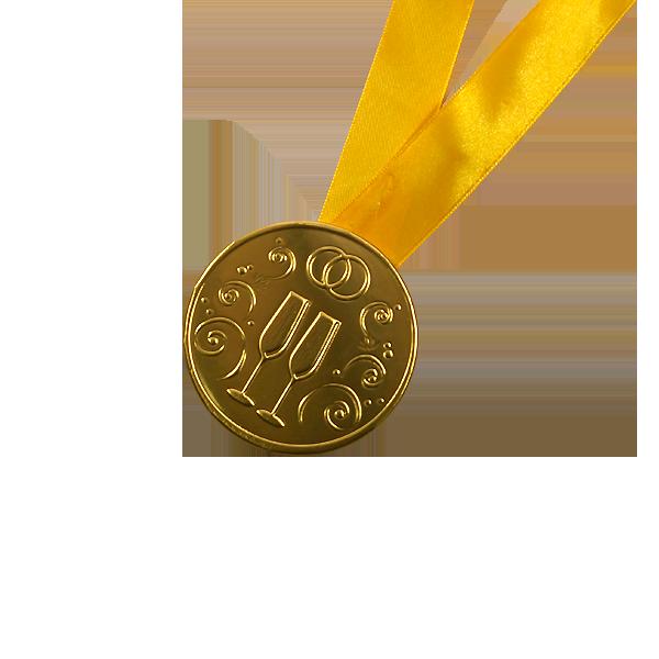 """Шоколадные медали на ленте """"Свадебная"""""""