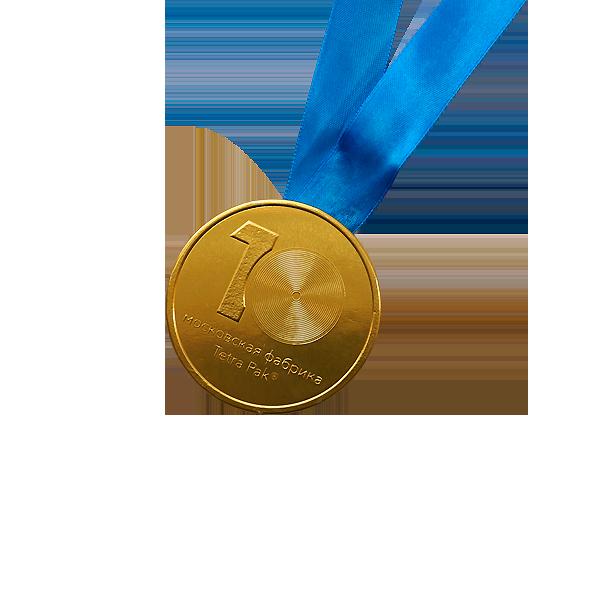 Шоколадные медали на ленте Tetra Pak