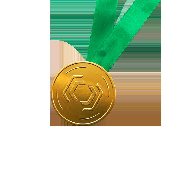Шоколадные медали на ленте.