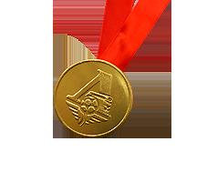 Шоколадные медали на ленте Локомотив.