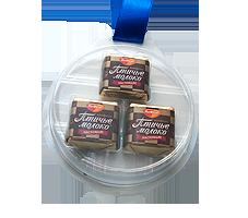Шоколадная медаль блистер на ленте. Без наклейки.