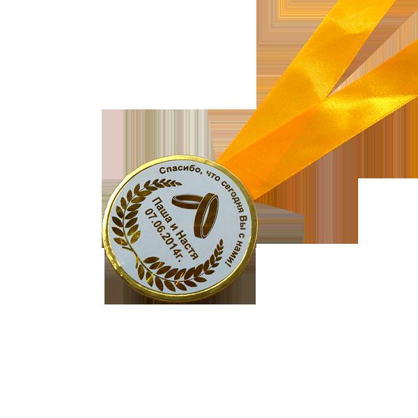 Шоколадные медали на ленте (свадебная, наклейка)